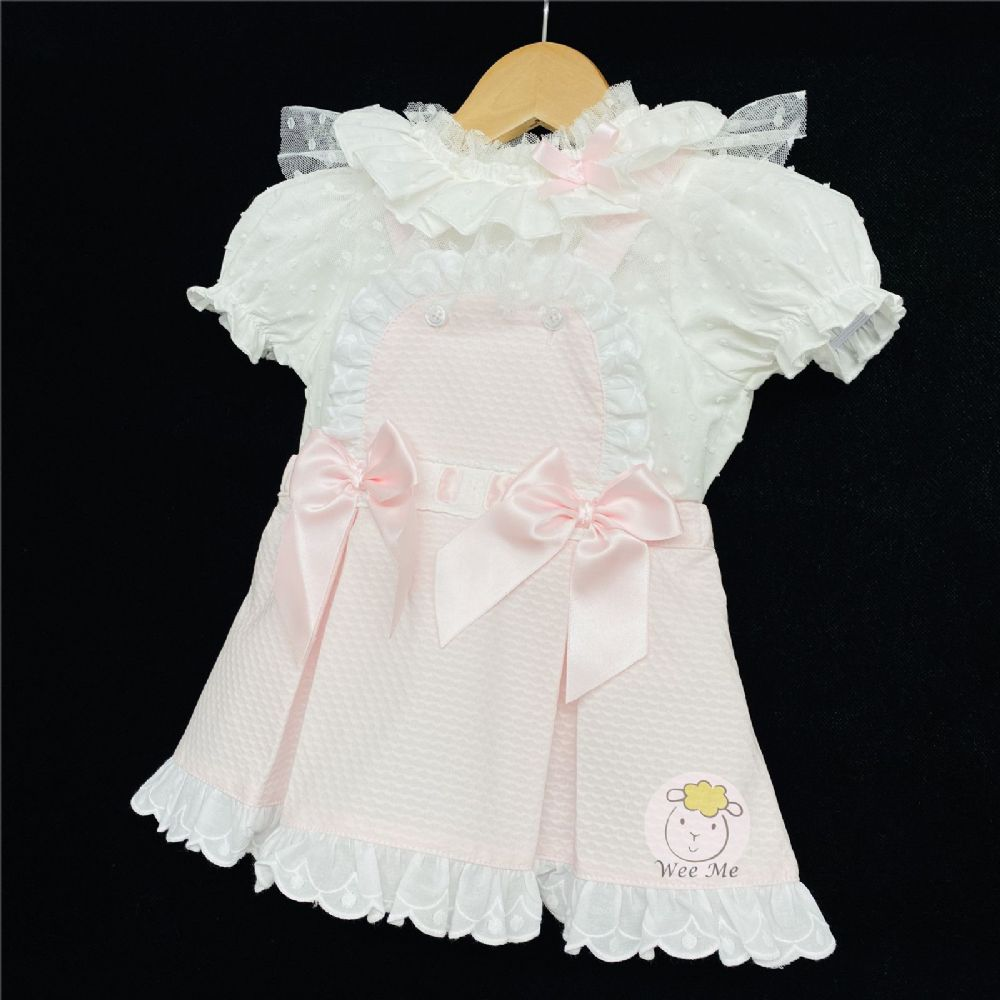 Baby Girl Spanish Pink Waffle Pinafore Dress Collar Shirt